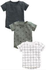 Khaki White Charcoal Short Sleeve T-Shirts Three Pack £12-£14